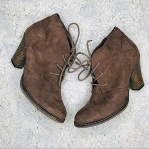 MIA Shayn Brown Lace Up Suede Block Ankle Boots